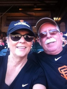 Gamer Babe Marie and her husband spending their Sunday afternoon at the Yard. #GoGiants!!