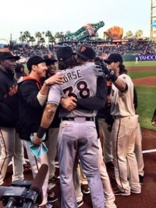 The GIANTS give Morse a hero's welcome.