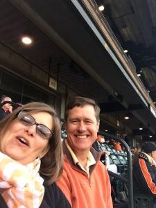 Karen and Duane enjoy Orange Friday at The Yard.